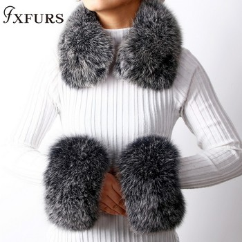 2020 New Fox Fur Collars Real Fur Cuffs Raccoon Fur Scarves a Set Winter Warm Fur Scarves Cuffs Match Cashmere Overcoats полушубок aliance fur полушубок
