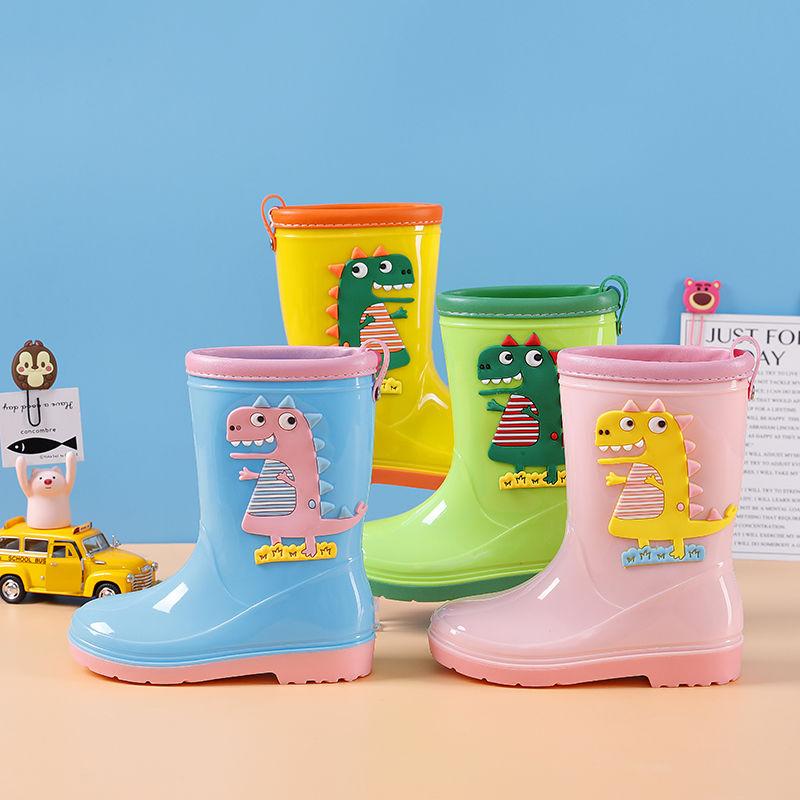 Children High Top Waterproof Rain Shoes Boys Girls Cute Water Shoes Cartoon Dinosaur Rainshoes Kids Rain Boots Colorful Galoshes