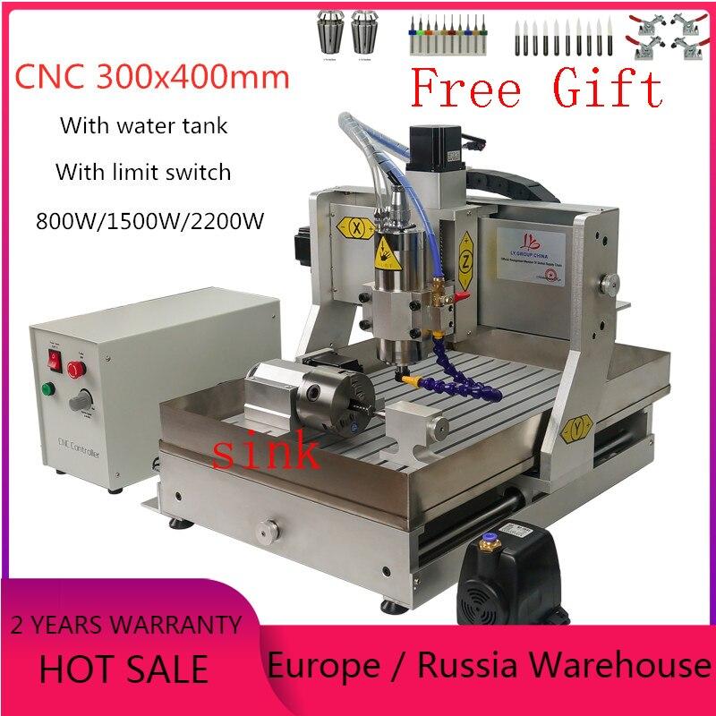 CNC 3040 2200w frezarka do drewna 4 osi metalu grawerowanie rzeźba frezowanie maszyny z wyłącznikiem krańcowym i zbiornik na wodę do aluminium miedzi