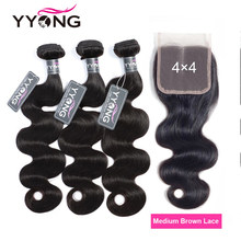 Mèches Body Wave brésiliennes naturelles Remy – Yyong Hair, 4x4, avec Closure, lot de 3