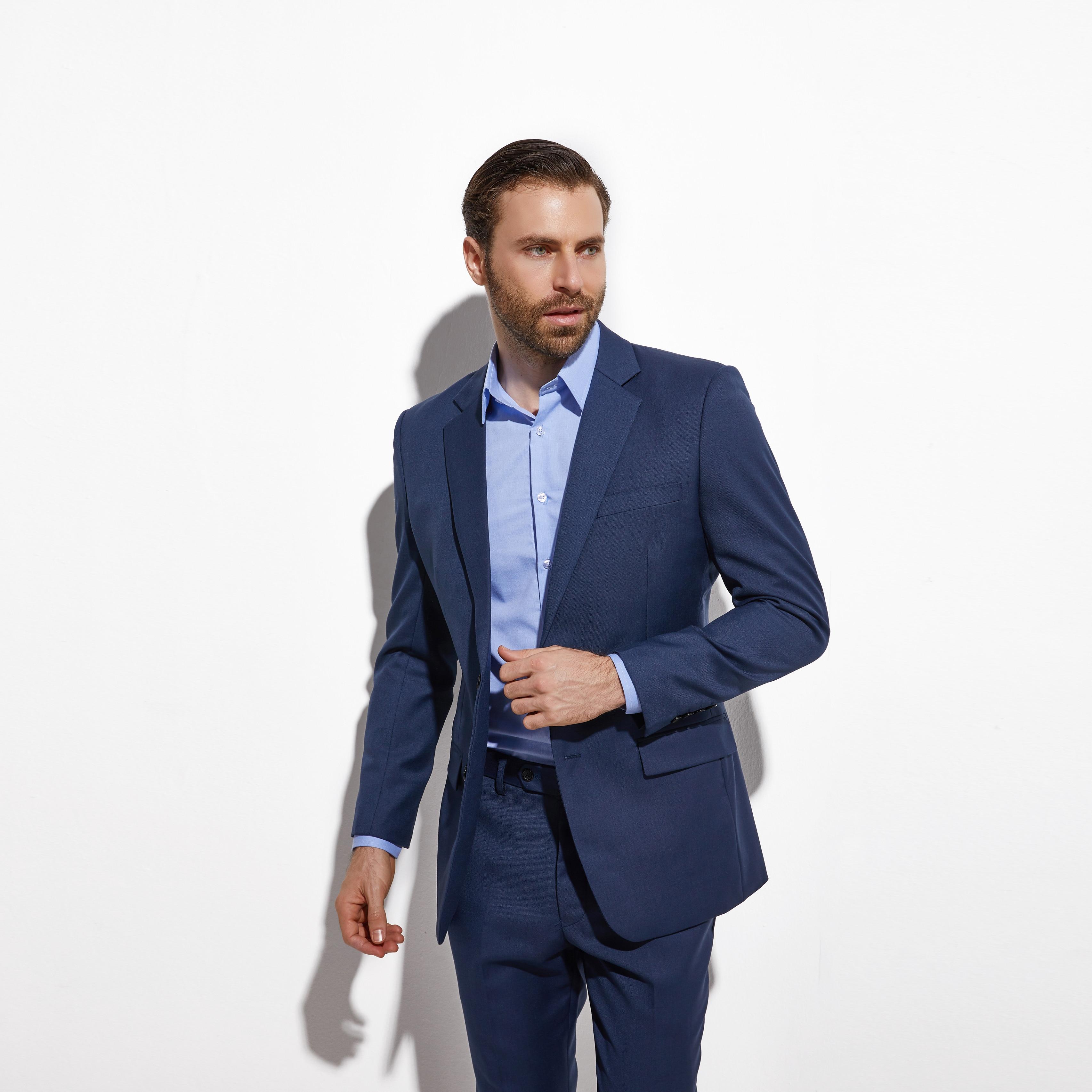 2020 Gorgeous Slim Dark Blue Wedding Suits For Men Custom Made Men Blue Suit Fashion Style Business Suits TAILORED Blue Tuxedo