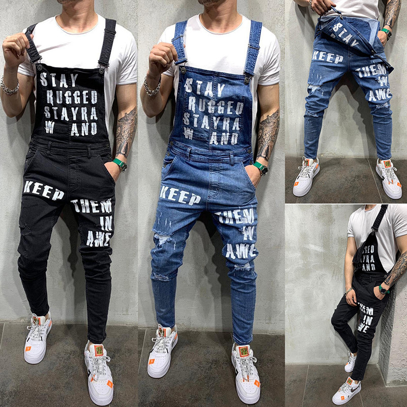 Men's Hip Hop Ripped Jeans With The Letter Jumpsuits Hi Street Distressed Denim Bib Overalls For Man Suspender Pants Size S-XXXL