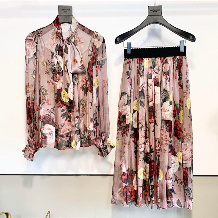Top Quality 2 Piece Set 2020 Spring Italy Fashion Flowers Print Long Sleeve Natural Silk Bloueses + Eleastic High Waist Skirts