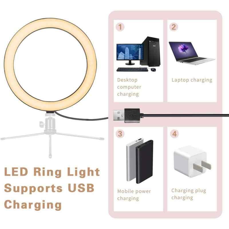 Lumière de jour chaude froide réglable 2.7/4.8/6 Inch LED anneau lumière photographique Selfie anneau éclairage pour Youtube maquillage vidéo Studio