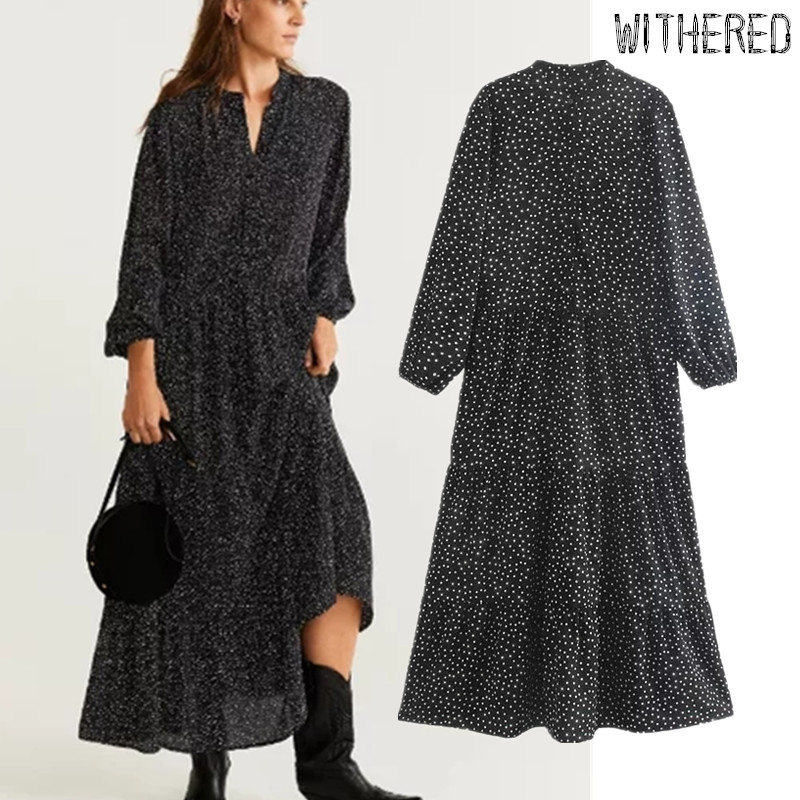 Withered Autumn Party Dress Women England Elegant Simple Polka Dot Print Loose Vestidos De Fiesta De Noche Vestidos Maxi Dress