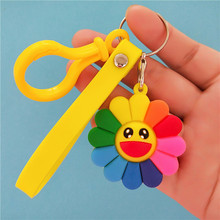 Colorful Sunflower Anime Key Chain PVC Figure Keyring cute Toys Keychain Keyholder Birthday Gift Unisex