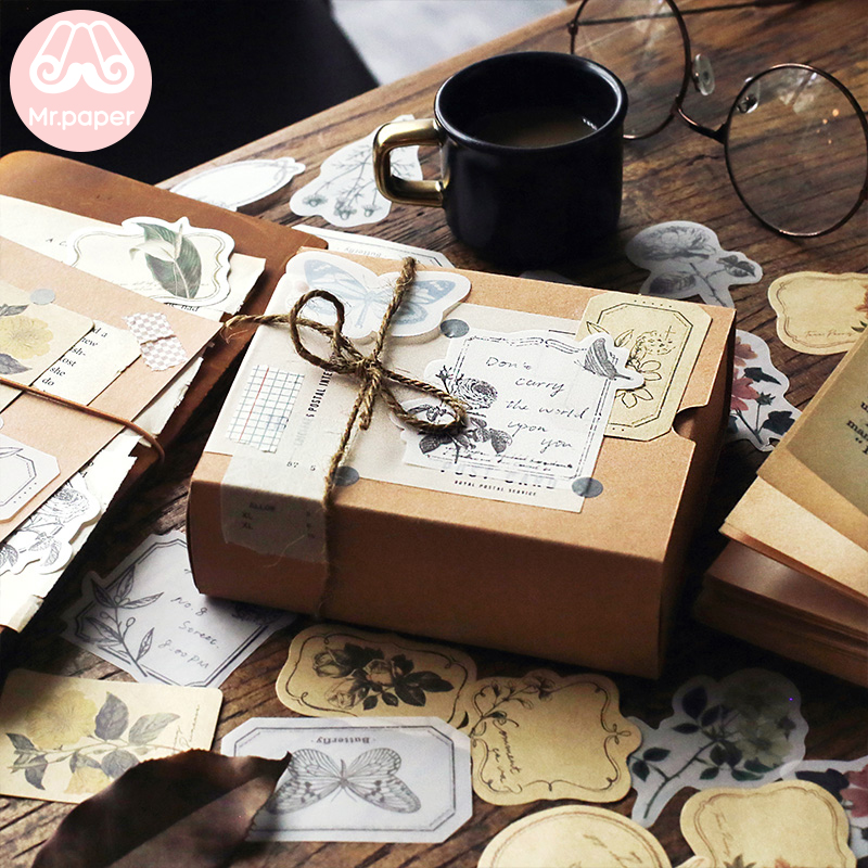 Купить с кэшбэком Mr.paper 30pcs/lot Vintage Flower Butter Paper Kraft Card Journaling Bullet DIY Scrapbooking Material Paper Retro LOMO Cards