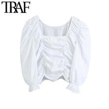 Traf moda feminina elástica smocked ruffled cropped blusas vintage gola quadrada lanterna manga camisas femininas blusas chiques