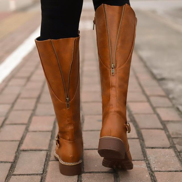 2019 Knees Square Heel Boots Women PU Leather Suede Matte Boots Slip on Zapatos De Mujer Solid Riding Knight Boots Winter Shoes 22