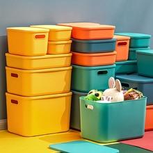 Storage-Box Stationery Snack Cosmetics Plastic Desktop with Lid Color-Mask Kitchen Organizer