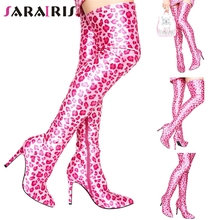 все цены на SARAIRIS New 35-48 Sweet Fashion Leopard Over The Knee Boots Lady Sexy Party Thigh High Boots Women 2019 High Heels Shoes Woman
