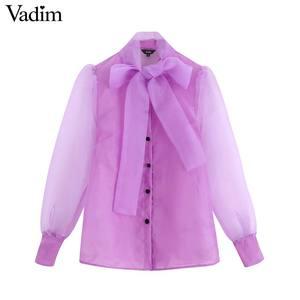 Image 1 - Vadim женский шикарный однотонный галстук бабочка блузка накидка из органзы рукав офисная одежда женская рубашка Прозрачный Топ blusas LB420