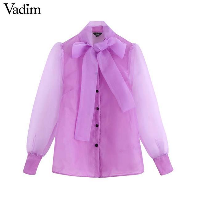 Vadim женский шикарный однотонный галстук бабочка блузка накидка из органзы рукав офисная одежда женская рубашка Прозрачный Топ blusas LB420