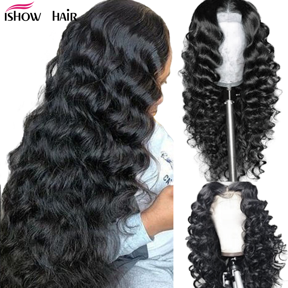 Ishow Loose Deep Wave Wig 13x4 Lace Front Human Hair Wigs 4x4 Lace Closure Wig 360 Lace Frontal Wig 180% 13x6 Lace Front Wig