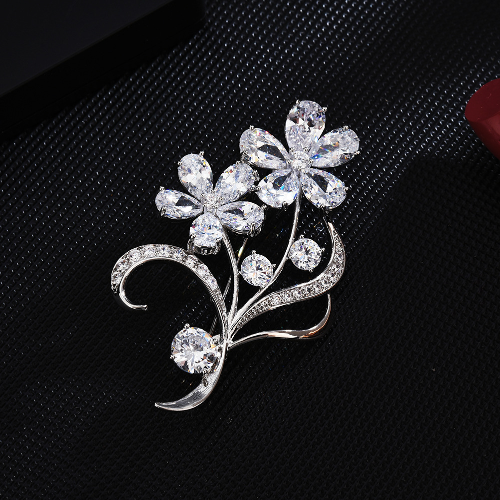 Bad Guy Sliver Flower Zircon Brooch Pin Shiny Flowers Brooch Jewelry Clothes Scarf Buckle Garment Accessories Fine Jewelry Gifts-1