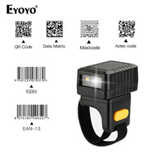 Evnvn Wireless Finger Scanner 2D Portable QR Code Ring Barcode Scanner Wearable Mini Bar Code Reader Bluetooth Scanners
