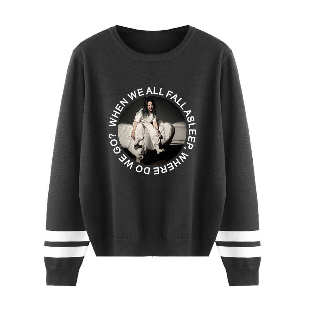 New Hot Billie Eilish Pullovers Sweaters Men Women O-Neck Fashion Spring Autumn Hip Hop Sweaters Male Female Black Casual Tops