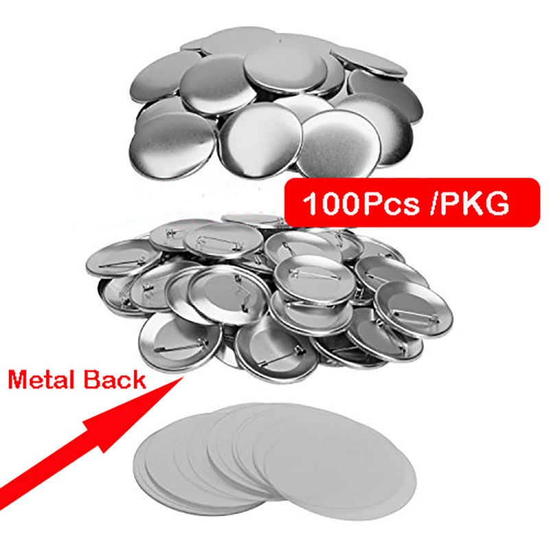 25mm Metal Back DIY  Badge Button Pins  Blank Raw Material pins buttons badges supplies parts 100PCS