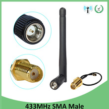 цена на 433Mhz Antenna 3dbi GSM 433 mhz SMA Male Connector Aerial antena 433m + RP-SMA SMA female to Ufl./IPX Extension Pigtail Cable