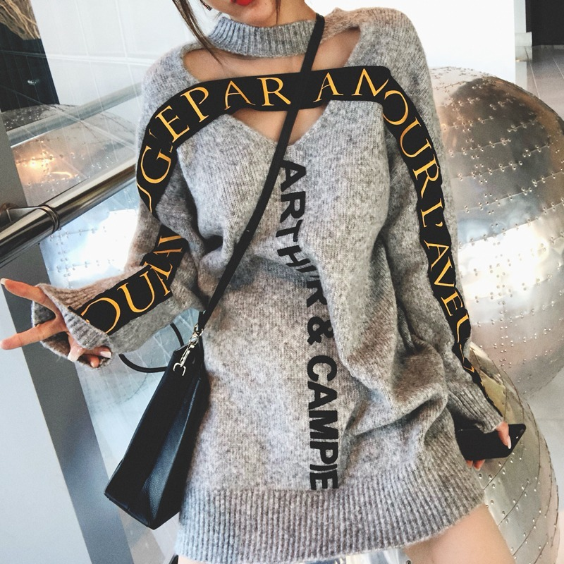 Both Sides Sweater Dress Autumn Gray Round Neck Hollow Letter Pullover Sweater Female Autumn And Winter Long Section Sweater