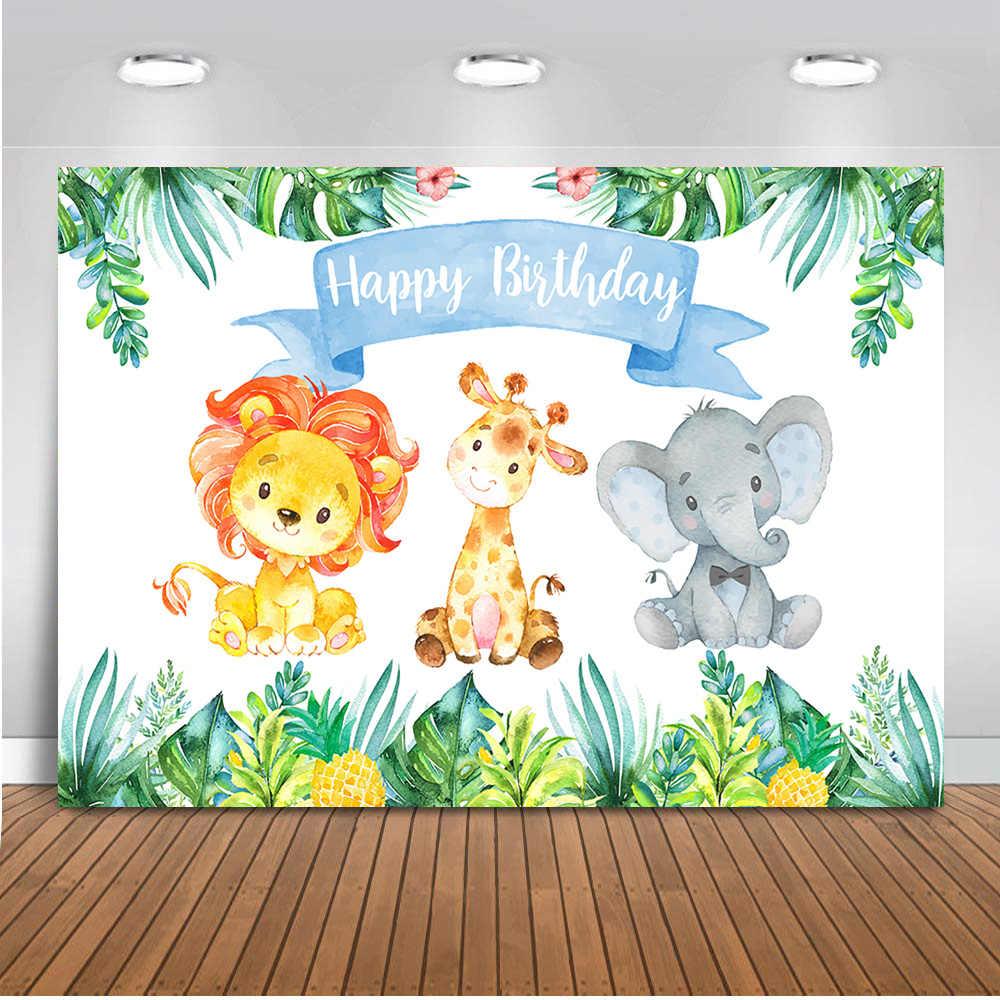 Jungle Safari fotoğraf arka fonu mutlu doğum günü orman sevimli fil ve aslan arka planında hayvan 1st doğum günü partisi dekor fotoğraf