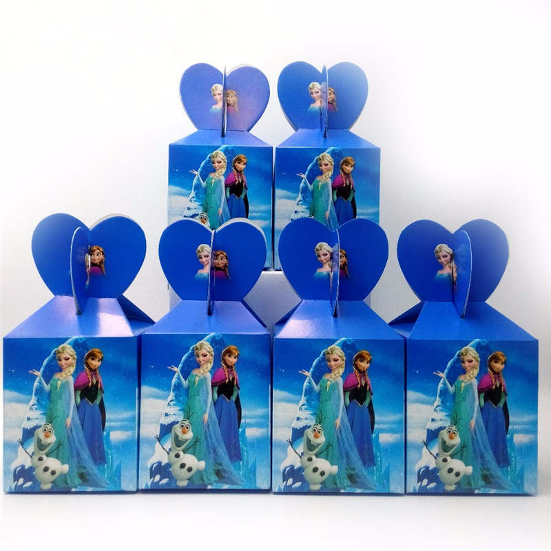 12pcs Frozen Theme Paper Candy Boxes Festival Girls Birthday Party Decoration Disposable Princess Anna Elsa Gift Boxes Supplies