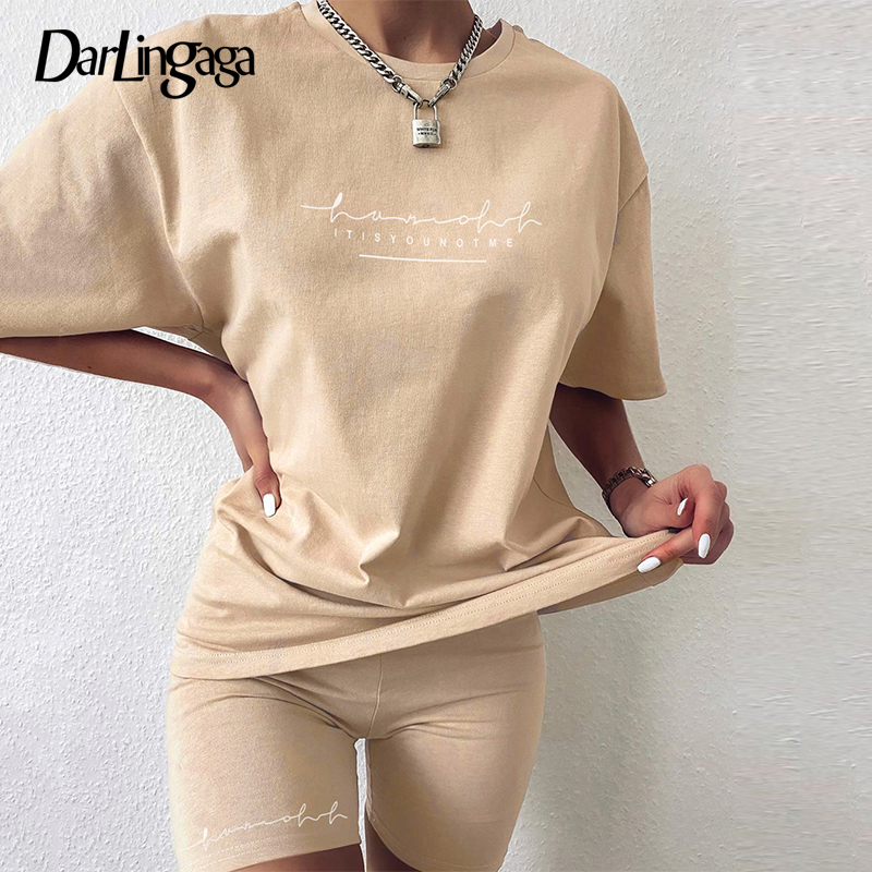 Darlingaga Casual Letter Print Workout Two Piece Set Tracksuit Women Summer Oversized Tshirt and Biker Shorts Matching Sets 2020