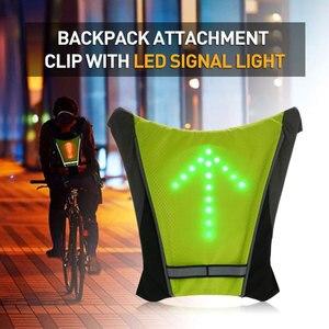 Bicicleta led luz de advertência mochila piscando turn light colete lâmpada equitação mochila sem fio com controle remoto