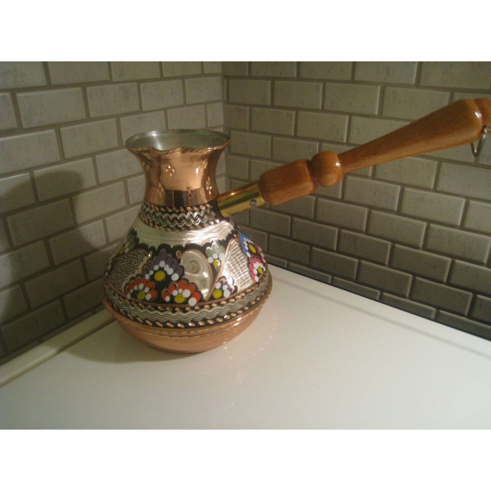 Turkish Handmade Russian Shape Copper Coffee Pot,Cezve Jezve,İbrik Enamel Carved
