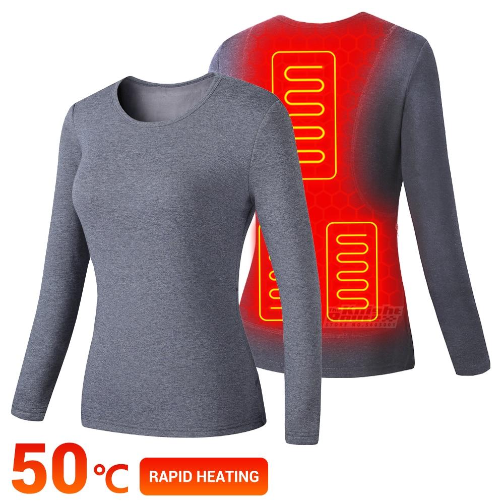 Heated Jacket Electric USB Battery Powered Women's Ski Suit For Women Fleece Thermal Underwear Winter Jacket Suit Heating Jacket