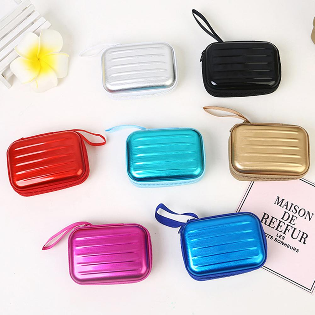 Portable Storage Case Mini Zippered Jewelry Organizer Earphone Storage Case Headphones Case Storage Box For Earphone Cases