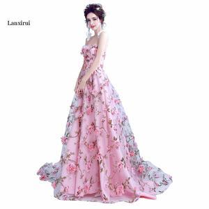 Image 3 - Lanxirui pembe çiçekler elbiseler uzun straplez sevgiliye vestido de formatura longo gece elbisesi parti cadılar bayramı