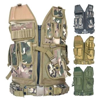 Kamizelka taktyczna z wieloma kieszeniami SWAT Army CS kamizelka myśliwska Camping piesze wycieczki akcesoria sprzęt taktyczny polowanie biegów tanie i dobre opinie Wiosna Lato AUTUMN Winter Pasuje prawda na wymiar weź swój normalny rozmiar Poliester tactical vest plate carrier military vest