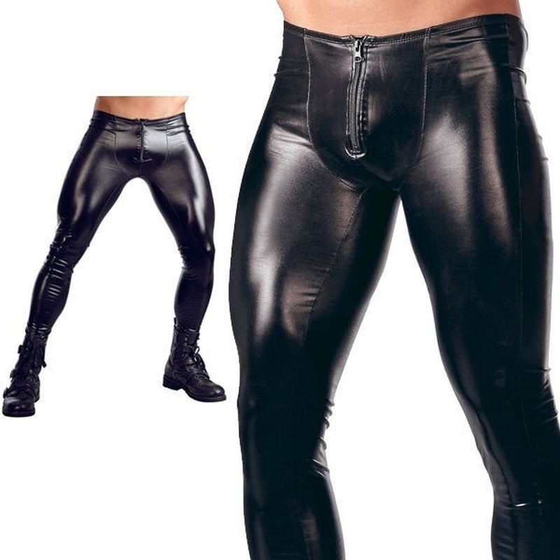 ZOGAA Men Hot Sexy Males Fornt Zipper Patent Leather Tights Nightclub Bar Performance DS Stage Pants Erotic Trousers For Men
