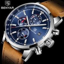 BENYAR montre à Quartz étanche en cuir pour hommes, marque de luxe, en acier inoxydable, horloge militaire, cadeau