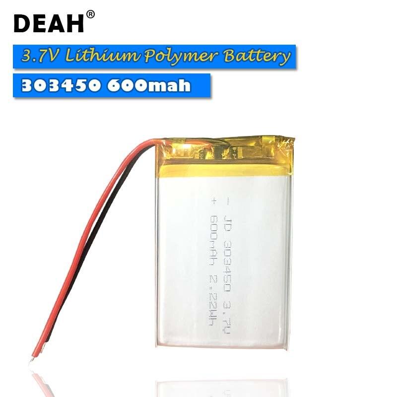 3.7V komórki Lipo 303450 600mah akumulator litowo-polimerowy do MP3 Power Bank GPS zestaw słuchawkowy bluetooth inteligentny zegarek