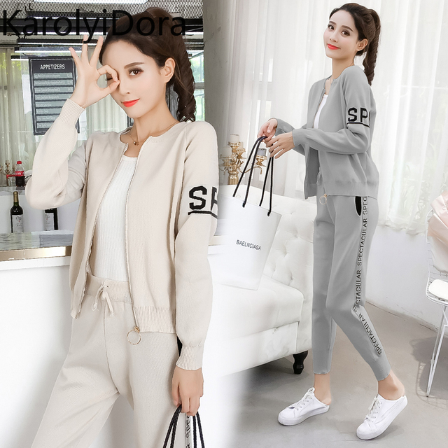 Women's suit 2020 Spring and autumn new fashion knit sweater sports suit women's cardigan thin casual pants 2 piece set women 1
