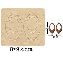 Овальная форма большой обруч висячие серьги резка деревянная
