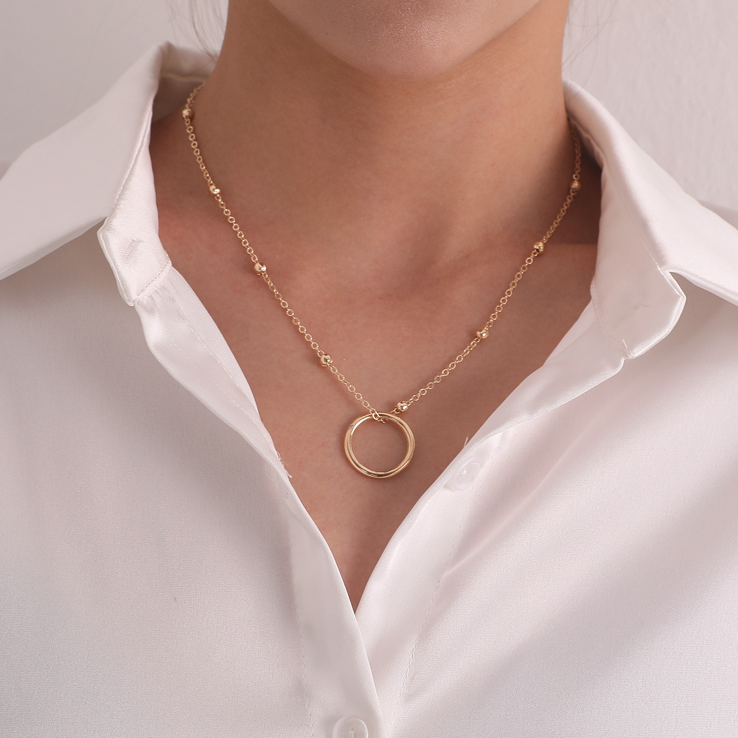 Simple Circle Pendant Necklace for Women Gold Silver Color Bead Chain Clavicle Chain Short Necklaces Female 2020 Fashion Jewelry