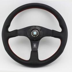 ND kierownica płaski styl prawdziwej skóry 14 cal 350mm wyścigi samochodowe Drifting kierownice świetny wygląd w Kierownice i klaksony od Samochody i motocykle na