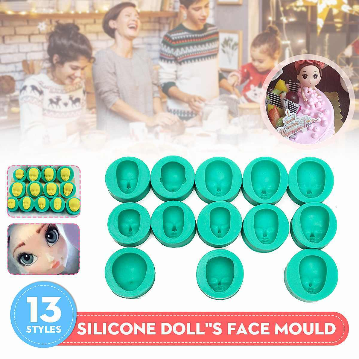 13 sztuk czekolady silikonowe formy lalki do własnoręcznego wykonania twarzy głowy formy Sugarcraft lukier dekoracyjny do ciasta zestaw Graduation ciasto dekorowanie Suppli