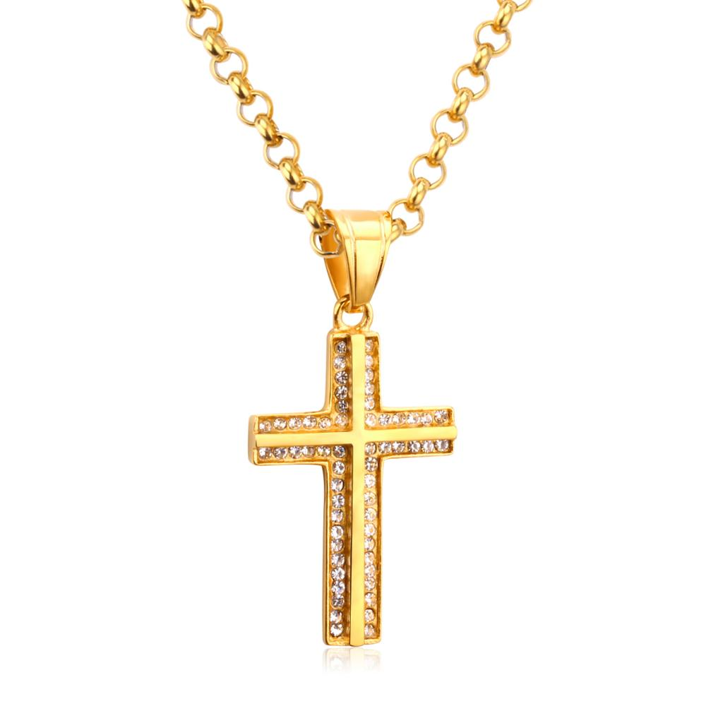 LUXUKISSKIDS Mens Cross Choker Pendant Necklace Stainless Steel Link Chain Zircon Necklace Statement Jewelry Collares Collier