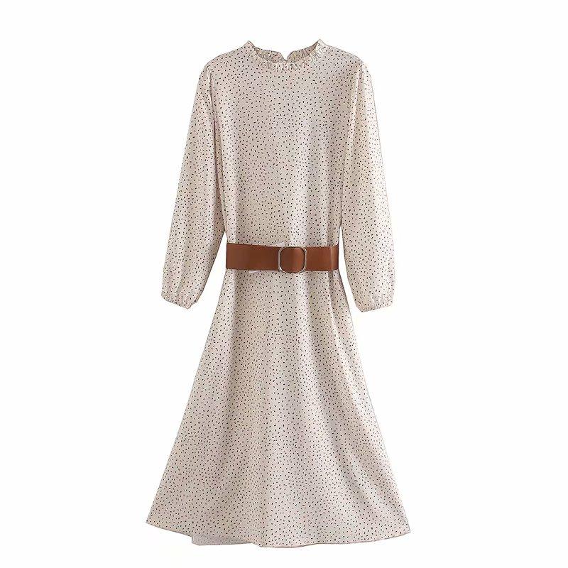 New women elegant agaric lace o neck dots print sashes midi dress female long sleeve vestidos chic leisure party dresses DS3430