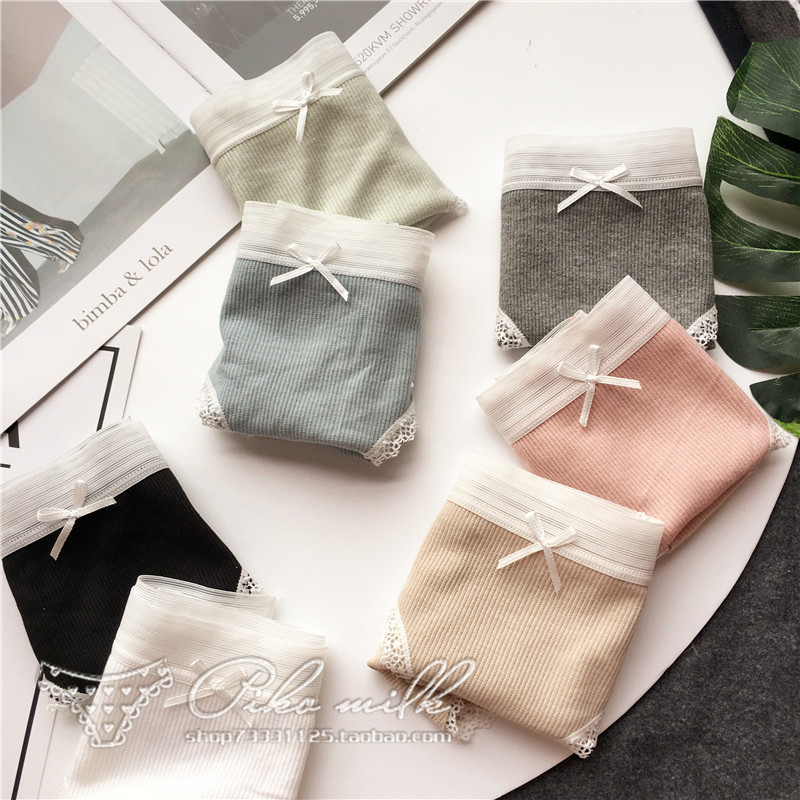 Simple Striped Sexy Briefs Basic Lace Side Transparent Panties For Women Menstrual Seamless Underwear Sexy Female Lingerie Tanga