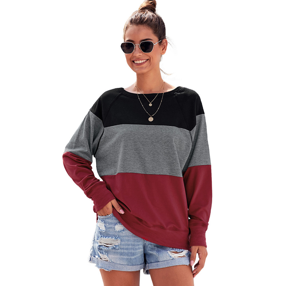 Clothing OWLPRINCESS New Style Contrast Color Loose-Fit Long Sleeve WOMEN'S Dress Pullover Casual Sweatshirt Hoodie