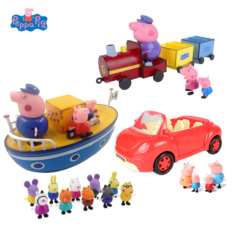 Peppa Pig George Family Transportation Set Action Figure Toys Cartoon Car Train Pirate Ship For Kids PVC Christmas Birthday Gift image