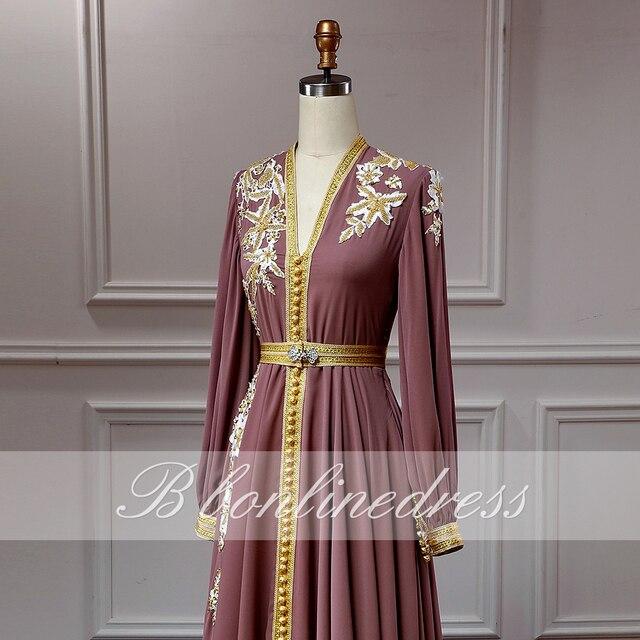 Bbonlinedress Moroccan Caftan Evening Dresses Embroidery Appliques Long Evening Dress Full Sleeve Arabic Muslim Party-Dress 5