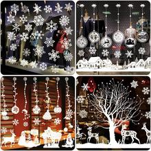 Christmas White Glass Window Stickers Glue Electrostatic Decoration Pinup Picture Home Decor