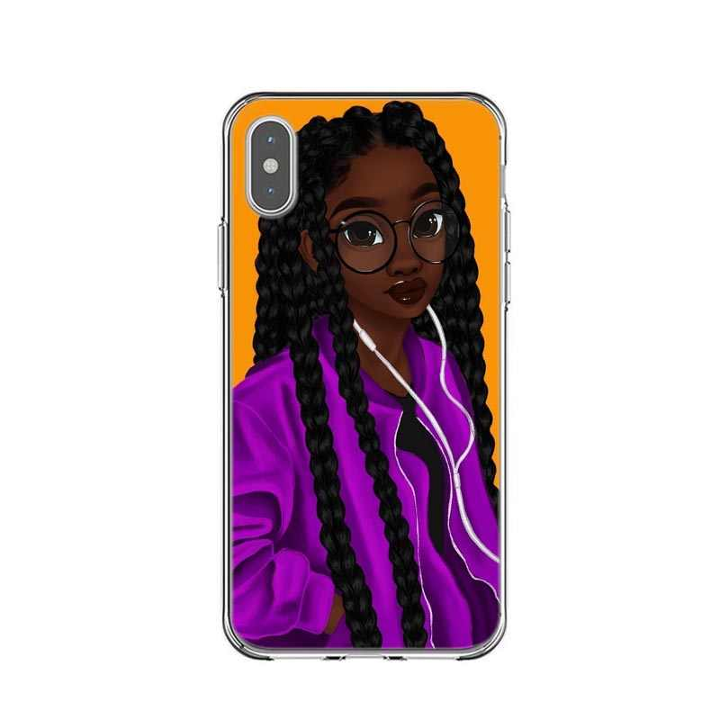 La Reina Rock Afro magia negra chica melanina Poppin princesa de silicona caso de la cubierta para iPhone X SE 5 5S 6 6sPlus 7 8 Plus XS XR XS.