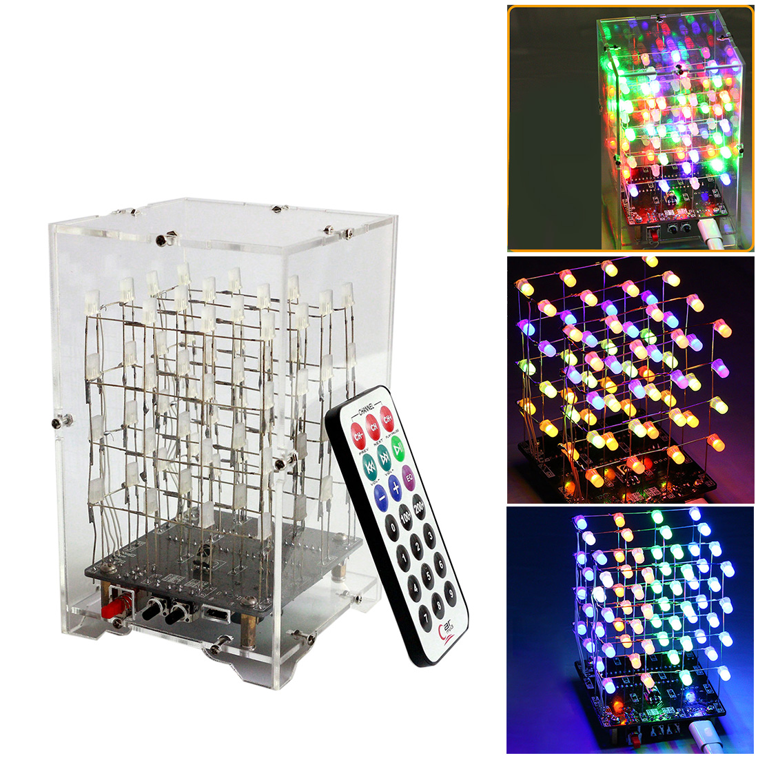 DIY Welding Electronic Bulk Parts Music Light Cube Kit (Remote Control, Seven Colours Changing, USB Power Supply, With Shell)